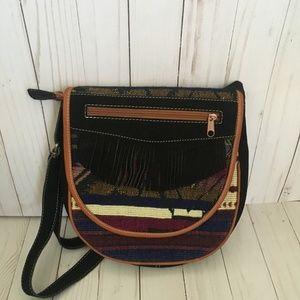 Handmade Womens Black Crossbody Leather Bag Purse